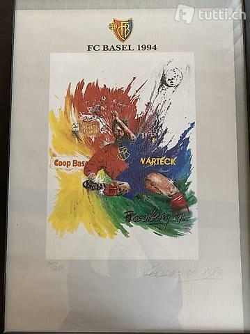 Fc Basel / FcB - Kunstdruckbild aus dem Jahre 1994 selten