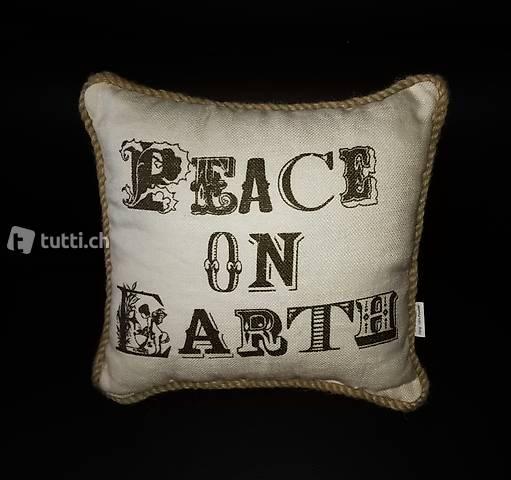 "Neu! Dekor-Kissen, Druck: ""peace on earth"", 30x30cm, ecru"