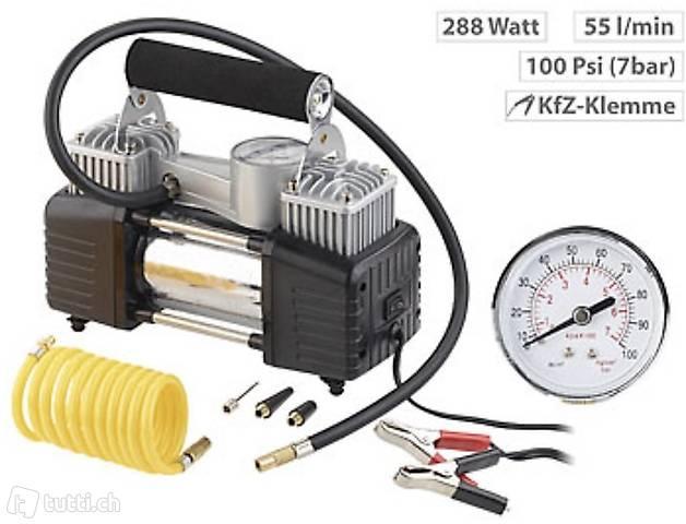 Mobiler Luft-Kompressor, Manometer, 12 V, 100 psi, 288 Watt,