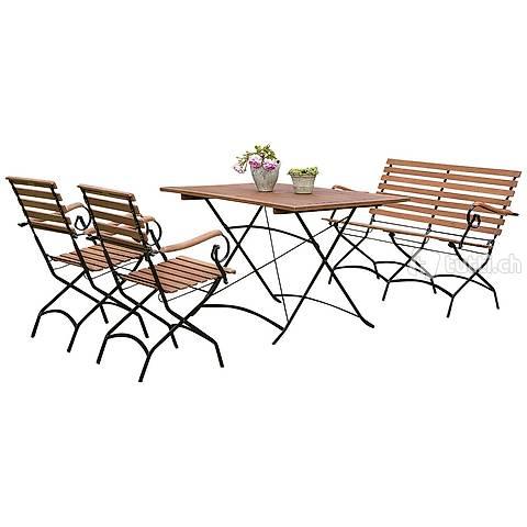 Klappgarnitur SCHLOSSGARTEN 4-teilig Lounge Gartenmöbel