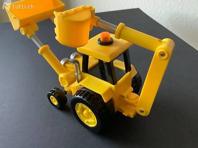 Bagger mit Augen, Spielzeugauto gelb/schwarz, Traktor