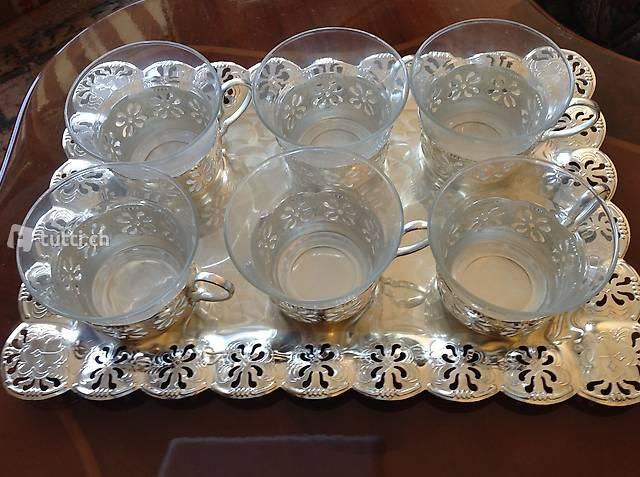 Servizio the/caffè da 6 in vetro con vassoio in acciaio