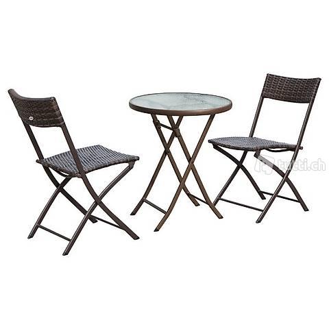 3pcs. balcone set rattan 2x sedia da (Consegna gratuita)