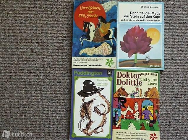 4 Taschenbücher, u.a.: Paddington, Doktor Dolittle