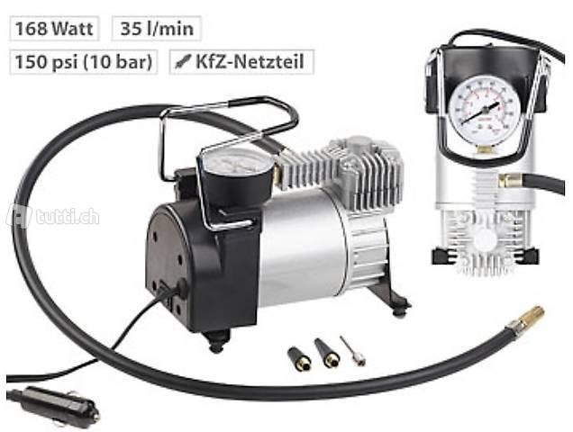 Mini-Luft-Kompressor mit Manometer, 12 V, 100 psi, 168 Watt,