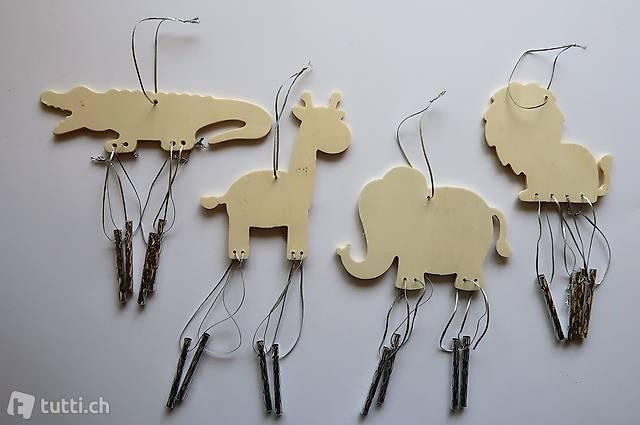 Holz Windspiel / Klangröhren Spiel Set 4 Zootiere