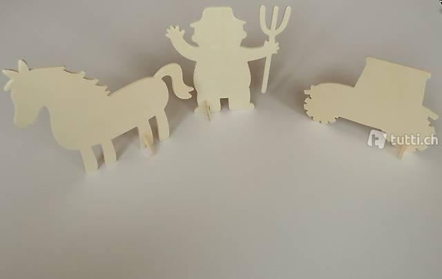 Holz Stecktiere / Steckfiguren Bauernhof NEU