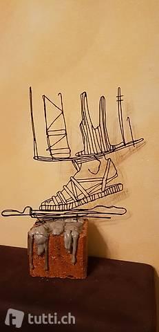"Skulptur Draht ""Sandalo"" Handmade"