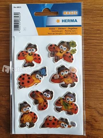 Sticker Marienkäfer mit Wackelaugen 1 Blatt