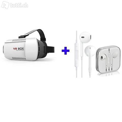 Portofrei Virtual Reality VR Box 3D Brille +KOPFHÖER Smartph