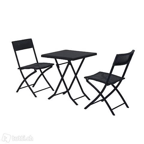 3pcs. balcone set rattan 2x sedia da (Consegna gratuita) 3