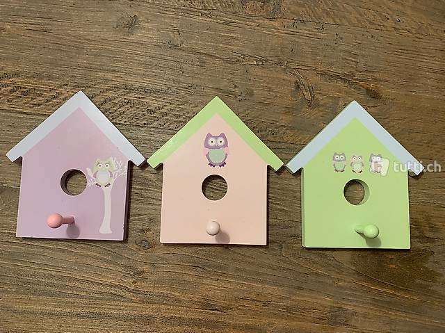 Garderobe Kinder pastell Farben 3 Stk. Vogelhaus