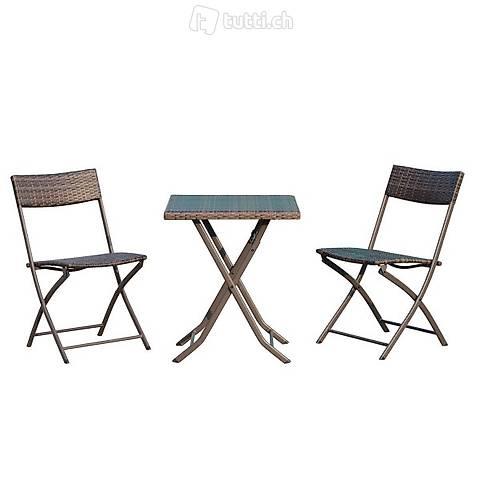 3pcs. balcone set rattan 2x sedia da (Consegna gratuita) 2
