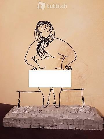 "Skulptur Draht ""nudista"" Handmade"