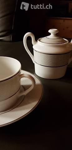 LIMOGES - Servizio tè e caffè ceramica mille righe Platino