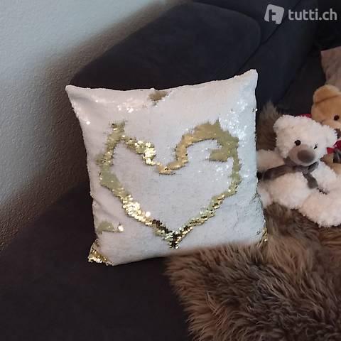 Pailletten Kissen Silber Gold