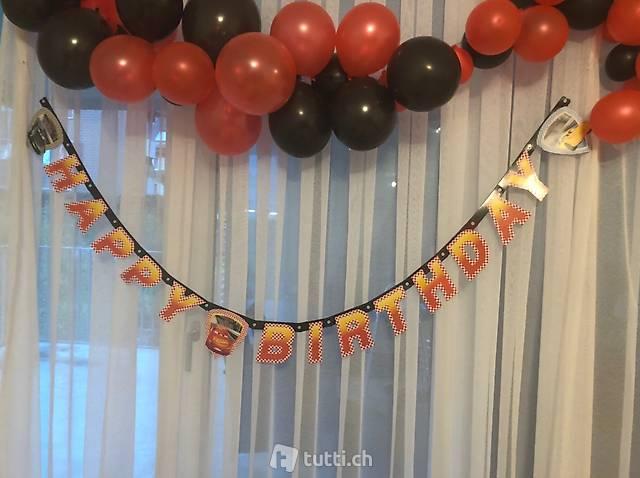 Cars Girlande, Einladungskarten, Tischset Geburtstagsset