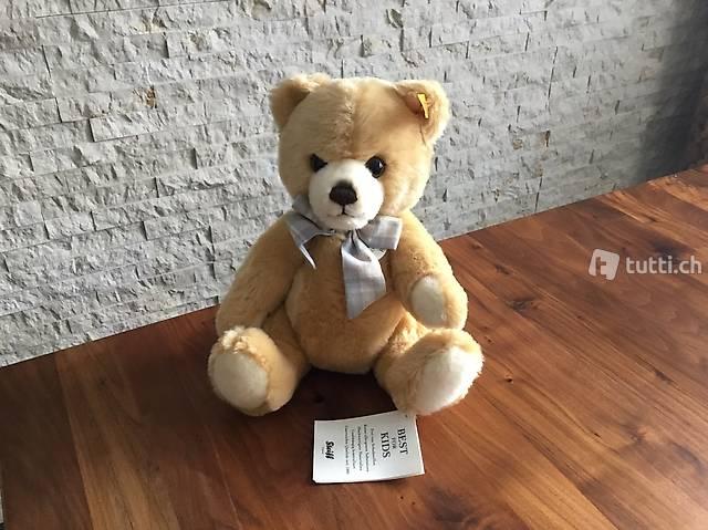 STEIFF TEDDYBÄR PETSY 28 BLOND MASCHE KARIERT