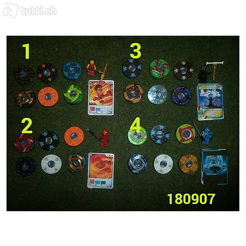 Lego Ninjago 6 Spinner + Figur + Karten, 4 Sets zur Wahl