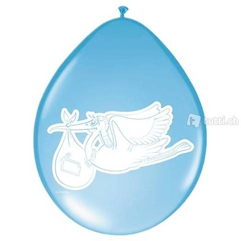 Baby Ballon Storch Ballon blau zum Beschriften