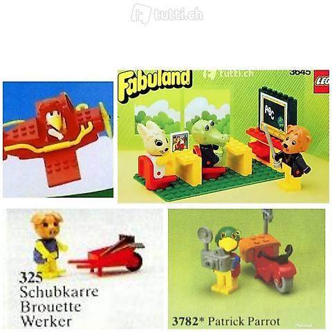 Lego 4x Fabuland Set 14, Schule, Flugzeug, fotograf, ..