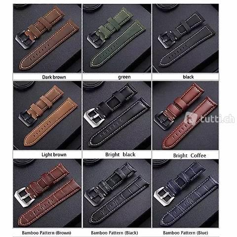 Uhrenband grün, blau, schwarz, braun Vintage Leder 26 mm neu