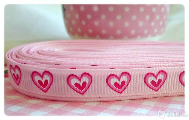 Ruban, Band - 9 mm - rose pink coeur Herz cuore (R9.14)