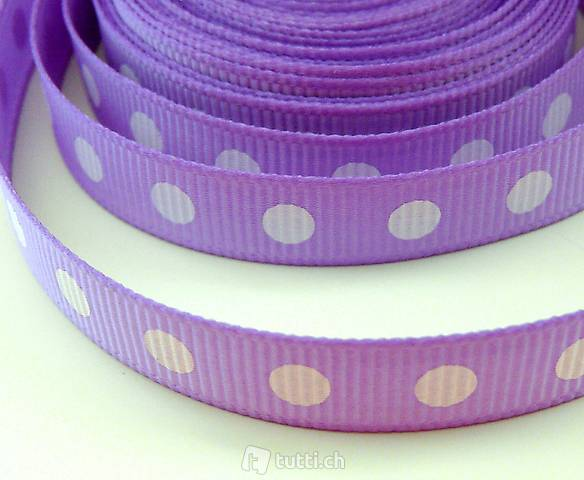 Ruban, Band - 10 mm - points blancs s/lilas - R9.23