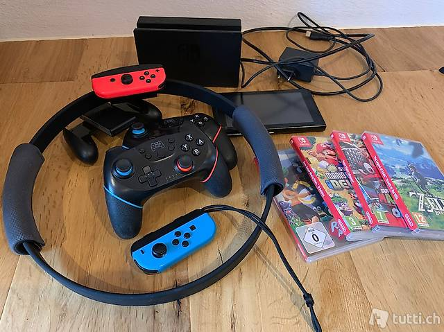 Nintendo switch inkl. ring fit, controller und games