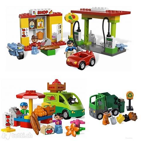Lego 3x Duplo Tankstelle, Marktstand, Müllwagen (325)