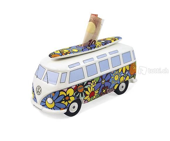 VW Bus Spardose Surfbrett Blumen