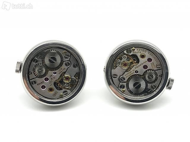 Silber 925, Manschettenknöpfe mit ROLEX Uhrwerk mit Krone
