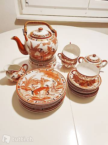 22 Tlg. Porzellan Teeservice Geisha RotGoldbemalung Jahr1950