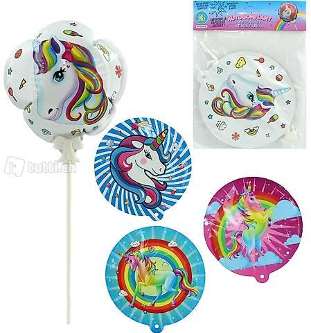 4er Set Einhorn Mini Follienballone inkl. Stab