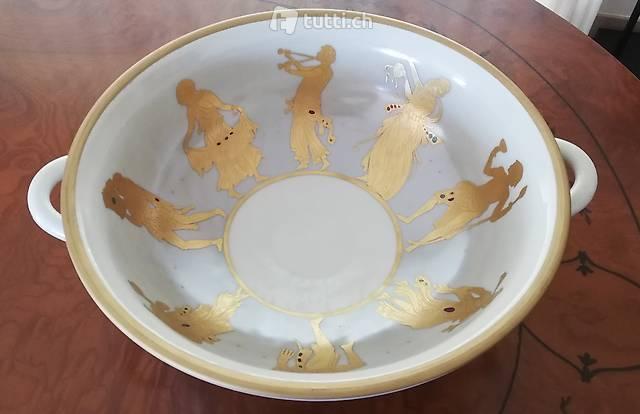 fruttiera di porcellana,  incisa in oro zecchino 24 ct