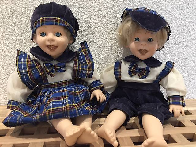 Porzellanpuppen Geschwisterpaar für Sammler und Liebhaber