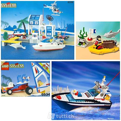 Lego 4 Sets Yachthafen, Polizeiboot, Beach-Buggy