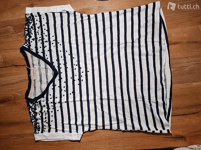 T-Shirt gestreift weiss/dunkelblau