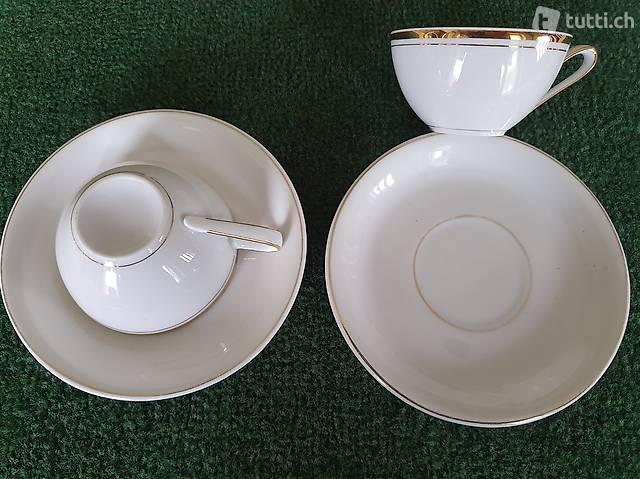 2 tazzine + piattino bianche con bordo oro