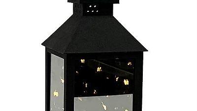 LED Kunststoff Laterne Schwarz 24 cm (Gratis Versand)